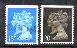 XP2261 - GRAN BRETAGNA 1990 , 20 Pence : 2 Valori Usati Dent  15x14 . PENNY BLACK  ANNIVERSARY - Usados
