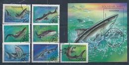 """TANZANIE : Y&T(o) N° 1428 à 1434 + BF 219 """" Requins """" - Poissons"""