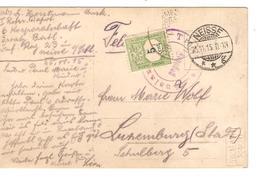 PK Soldaten C.Neisse(Niza) Silesie 25/11/1915 Censored To Luxemburg Stadt Taxed 5 C PR4039 - Allemagne