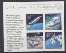 USA 1989 UPU Congress / Space M/s ** Mnh (34785A) - Blocks & Kleinbögen