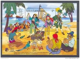 NciA062 WALT DISNEY PIRATEN PAPEGAAI SCHIP CRAB SHIP PIRATES TREASURE PARROT TURKS & CAICOS 1985 PF/MNH - Disney