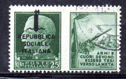 """XP2263 - REPUBBLICA SOCIALE RSI , Propaganda Guerra 25 Cent Usato  """"armi E Cuori ..."""" - 4. 1944-45 Repubblica Sociale"""