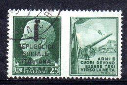 """XP2265 - REPUBBLICA SOCIALE RSI , Propaganda Guerra 25 Cent Usato  """"armi E Cuori ..."""" - 4. 1944-45 Repubblica Sociale"""