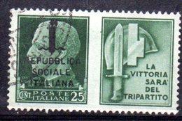 """XP2266 - REPUBBLICA SOCIALE RSI , Propaganda Guerra 25 Cent Usato  """" La Vittoria ..."""" - 4. 1944-45 Repubblica Sociale"""