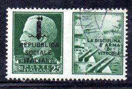 """XP2267 - REPUBBLICA SOCIALE RSI , Propaganda Guerra 25 Cent Usato  """" La Disciplina ..."""" - 4. 1944-45 Repubblica Sociale"""