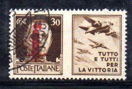 """XP2268 - REPUBBLICA SOCIALE RSI , Propaganda Guerra 30 Cent Usato  """" Tutto E Tutti ..."""" - 4. 1944-45 Repubblica Sociale"""