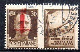"""XP2269 - REPUBBLICA SOCIALE RSI , Propaganda Guerra 30 Cent Usato  """" Armi E Cuori ..."""" - 4. 1944-45 Repubblica Sociale"""