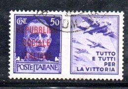 """XP2272 - REPUBBLICA SOCIALE RSI , Propaganda Guerra 50 Cent Usato  """" Tutto E Tutti ..."""" - 4. 1944-45 Repubblica Sociale"""
