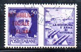 """XP2273 - REPUBBLICA SOCIALE RSI , Propaganda Guerra 50 Cent Usato  """" Armi E Cuori ..."""" - 4. 1944-45 Repubblica Sociale"""