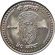 LIVING GODDESS KUMARI ANNIVERSARY RUPEE 50 COMMEMORATIVE COIN 2007 AD KM-1189 UNCIRCULATED - Népal