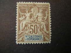 N-LLE CALEDONIE - 1900/04, Fournier Rare, Cent. 50 Bistre E Bleu, N. 64, MLH* TTB - Neukaledonien