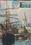 FRANCE Carte Maximun N°492. B. Ed Yvon 27 Gd Ft Vert Couleur .3. Ob Ord St Malo 04 03 1941 - Maximumkarten