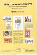 Bund   Künstler-Ersttagsblatt  2/1991   #  01286   750 Jahre Hannover - Usados