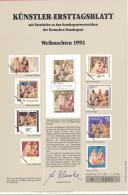 Bund   Künstler-Ersttagsblatt  43/1992   #  1651   Weihnachten 1992 - Usados