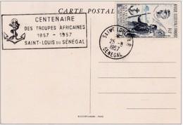 1957 - AOF - Saint Louis Du Sénégal - Carte Maximum Centenaire Troupes Africaines - Gal Faidherbe - Document CP Commémor - Storia Postale