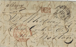 """1838- Lettre De Marseille, Acheminée Au Havre Pour Boston , Par L' """"Albany """" En P.P. Du Bureau Maritime - Poste Maritime"""