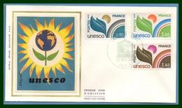 France FDC Silk Soie N° S 50 /2 UNESCO 1976 (cote 6 €)