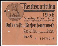 Reichsparteitag Nürnberg, Propaganda, Hakenkreuz, Swastika, Hitler, Eintrittskarte - Guerra 1939-45