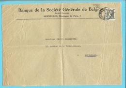 """408 Op Brief (voorzijde) Stempel BRUXELLES, Met Firmaperforatie (perfin) """"S.G."""" Van Banque Societe Generale De Belgique - 1934-51"""