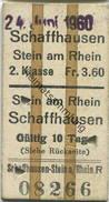 Schweiz - Schaffhausen Stein Am Rhein Fahrkarte 1960 - Rückseitig Rückfahrt Auch Mit Bahn Von Oder Nach Stein Oder Hemis - Billets D'embarquement De Bateau