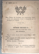 CREMONA,REGGIO DECRETO.CHE ISTITUISCE UNA COMM.CONSERVATRICE DEI MONUMENTI E OPERE D'ARTE.1876-MM25 - Decreti & Leggi