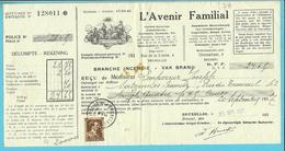 """427 Op Recu Stempel BRUXELLES, Met Firmaperforatie (perfin) """" A.F."""" L'AVENIR FAMILIAL - 1934-51"""