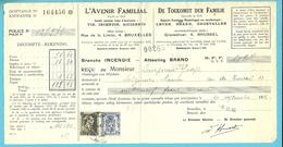 """426+480 + Verso Fiscalezegel Op Recu Stempel BRUXELLES, Met Firmaperforatie (perfin) """" A.F."""" L'AVENIR FAMILIAL - 1934-51"""