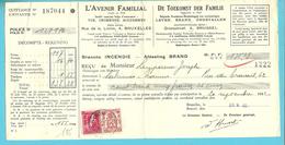 """423+528 + Verso Fiscalezegel Op Recu Stempel BRUXELLES, Met Firmaperforatie (perfin) """" A.F."""" L'AVENIR FAMILIAL - 1934-51"""