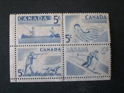 CANADA 1957 SERIE COURANTE . SPORTS DE PLEIN AIR MHL