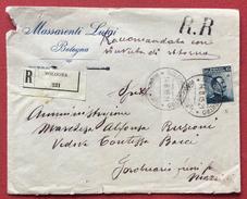BOLOGNA CENTRO RACCOMANDATE + R.R. 15 C. MICHETTI ISOLATO SU RACCOMANDATA RR PER CITTA' IN DATA 14/8/15 - 1900-44 Vittorio Emanuele III