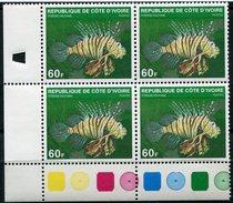 COTE D'IVOIRE THEME FAUNE MARINE POISSON N°510A EN BLOC DE 4 NEUF SANS CHARNIERE - Ivory Coast (1960-...)