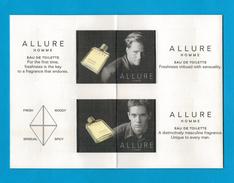 Cartes Parfumées Carte CHANEL ALLURE HOMME De CHANEL DÉPLIANT 4 RECTO VERSO - Modernes (à Partir De 1961)