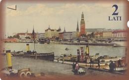 Latvia, M-009, 2 Ls, River,  2 Scans.