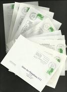 01 - AIN / Lot De 10 SECAP Villes Différentes / Enveloppes Entières....toutes Scannées - Oblitérations Mécaniques (flammes)
