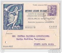 ESTA867-LT105TSI.CARTA TARJETA PUBLICITARIA Agente De Aduanas,DE CADIZ A PUERTO DE STA MARIA.1941,(Ed 867).MUY BONITA - Sindicatos