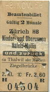 Schweiz - Beamtenbillet - Zürich HB Nieder- Und Oberurnen Näfels-Mollis Und Zurück - Fahrkarte 2. Kl. 1958 - Europa