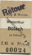 Schweiz - Beamtenbillet - Winterthur Bülach Stempel Retour - Fahrkarte 2. Kl. 1959 - Billets D'embarquement De Bateau