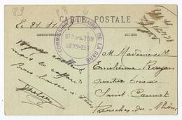 Marcophilie - Sens 89 Yonne Cachet Commission Militaire De La Gare Sens Lyon Est 1917 - Storia Postale