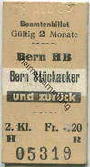 Schweiz - Beamtenbillet - Bern HB Bern Stöckacker Und Zurück - Fahrkarte 2. Kl. 1959 - Europa