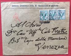 IST.OFTALMICO UNIVERSITA' DI PADOVA  BUSTA A CARLO FRATI BIBLIOTECA MARCIANA VENEZIA CON FLOREALE 5 C.( 3) Il 9/6/1906 - 1900-44 Vittorio Emanuele III