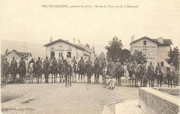 """1905 Neuves Maisons """" Pendant La Grève """"  Garde Du Pont Par La 5éme Hussard - Café """" Au Rendez-vous Des Pêcheurs """" - Neuves Maisons"""