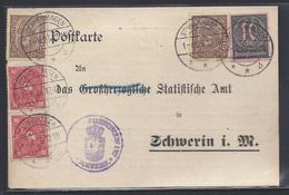 POSTKARTE Nach SCHWERIN DIENSTMARKEN SERVICE MECKLENBURG STATISTISCHES AMT METEOROLOGIE WETTER MAI 1923 - Schwerin