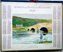 CALENDRIER ALMANACH DES POSTES PTT 1931 VUE DU PONT PECHEUR DEPARTEMENT DE L'OISE  POSTES ET TELECOMMUNICATION - Big : 1921-40