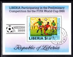 Liberia Used 1985 #1036 Souvenir Sheet $1.25 Liberia Vs Nigeria World Cup Soccer - Liberia