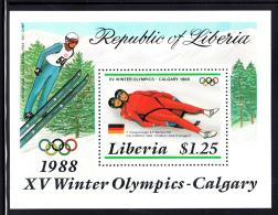 Liberia MNH 1987 #1054 Souvenir Sheet $1.25 2-Man Luge Calgary Winter Olympics 1988 - Liberia