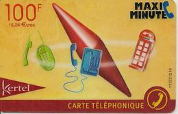 CARTE-PREPAYEE-KERTEL-MAXI MINUTE-100F-15.24€-FRANCE--CAROTTE-CABINE-V°- N° Code En HAUT-TB E - Autres Prépayées