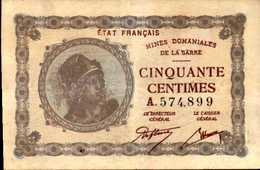 FRANCE Mines Domaniales De La SARRE 50 CENTIMES  XF/SUP - Autres