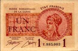 FRANCE Mines Domaniales De La SARRE 1 FRANC AU/SPL - Autres