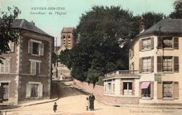 AUVERS-SUR-OISE CARREFOUR DE L'EGLISE (CARTE COLORISEE) - Auvers Sur Oise