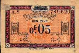 FRANCE Régie Des Chemins De Fer 0.05 Centimes 1923nd  XF/SUP - Treasury
